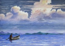 New painting: Crossing lake Mutanda