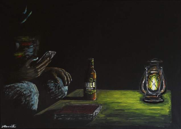 New painting: A chat in the shine of a paraffin lamp
