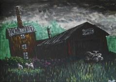Död fabrik vid Kvarntjärn. Original, akryl på kanvas 70x50 cm. 1200 kr.