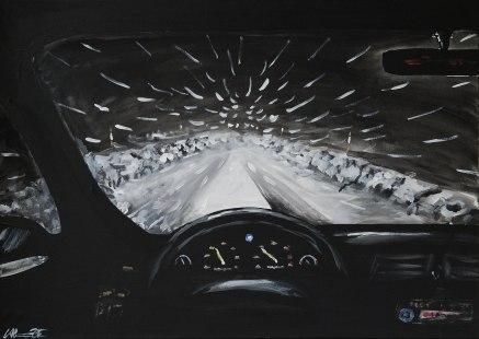 Den evinnerliga vinterpendlingen. Original, akryl på kanvas 70x50 cm. 1200 kr.