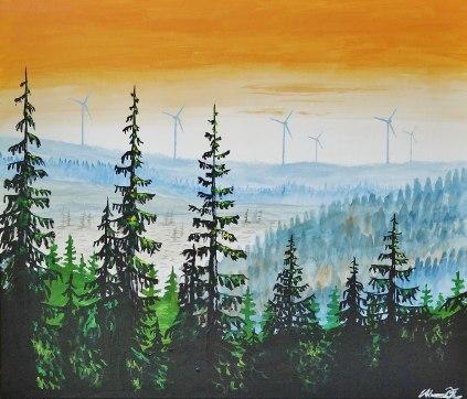 Vindparksvy från Norrby. Original, akryl på kanvas 70x60 cm. 1300 kr.