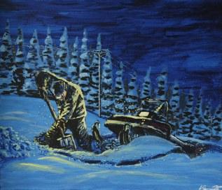 Snöns utmaningar. Original, akryl på kanvas 70x60 cm. 1300 kr. SÅLD.