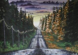 Ljuset bortom Storsävarträskvägen. Original, akryl på kanvas 70x50 cm. 1200 kr. SÅLD.