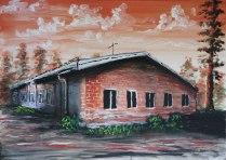 Byns barnlösa skola. Akrylmålning på kanvas 70x50 cm. 1200 kr.