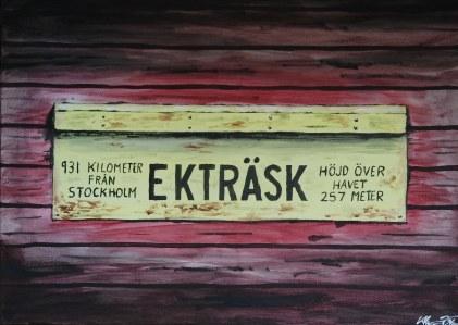 Förr en viktig anhalt längs Stambanan genom övre Norrland. Akrylmålning på kanvas 70x50 cm. 1200 kr.