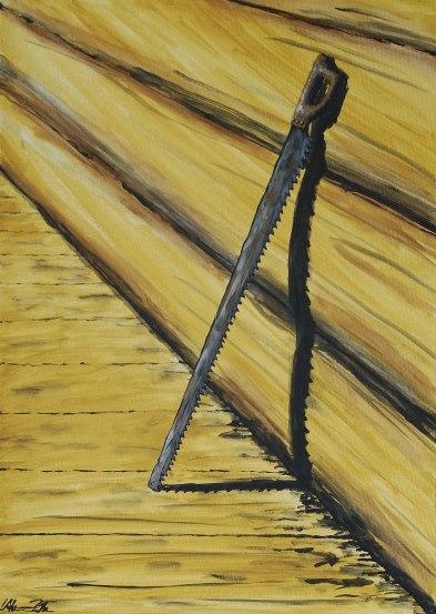 Pensionerad timmersvans. Original, akryl på kanvas 50x70 cm. 1200 kr.