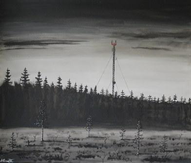 Mobiltäckningens ögon över träsket. Original, akryl på kanvas 70x60 cm. 1300 kr.