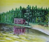 Kvällsdopp vid Kludden. Original, akryl på kanvas 70x60 cm. 1300 kr.