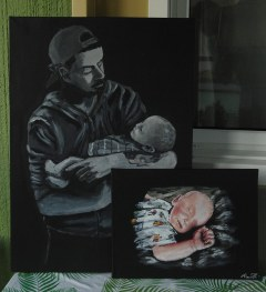 Sleeping baby + father and son