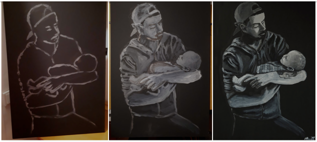 Step by step - painting father and son