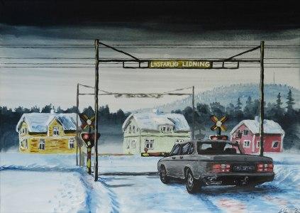 Enda tågrelaterade stoppen som sker i byn nuförtiden. Akrylmålning på kanvas 70x50 cm. 1200 kr. SÅLD.