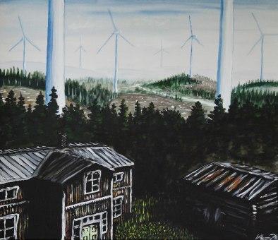 Kampen bland 185 meter höga kraftverk. Akrylmålning på kanvas 70x60 cm. 1300 kr.