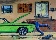 Felsökning. Akrylmålning på kanvas 70x50 cm. 1200 kr.
