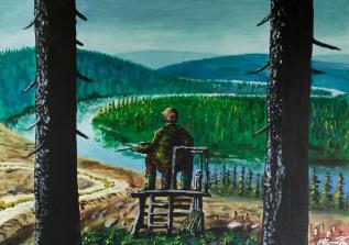 Årlig älgväntan. Akrylmålning på kanvas 70x50 cm. 1200 kr.