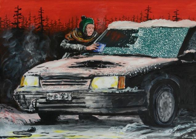 Frusen måndagsmorgon. Akrylmålning på kanvas 70x50 cm. 1200 kr.
