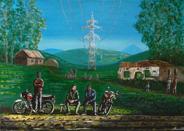 Observation och konversation. Nymålad bild där jag försökt porträttera mig själv och motorcykeltaxiförare vid antropologiskt fältarbete i västra Uganda.